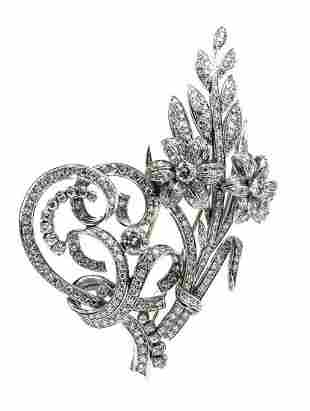 Gold and diamonds brooch