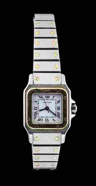 CARTIER SANTOS LADY steel and gold wristwatch