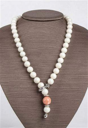Coral and diamonds necklace