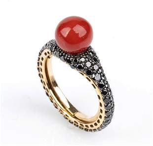 Gold, coral and black diamonds ring