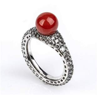 Gold, coral and grey diamonds ring