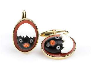 Gold, Cerasuolo coral and onyx cufflinks
