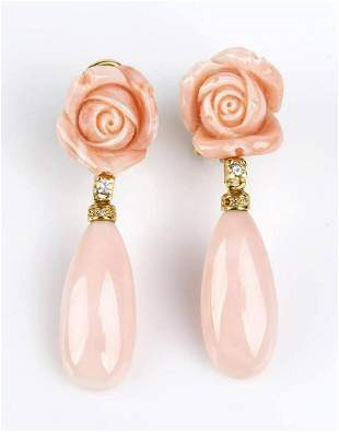 Gold, pink coral and rose quartz earrings