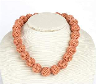 Woven mesh pink coral necklace