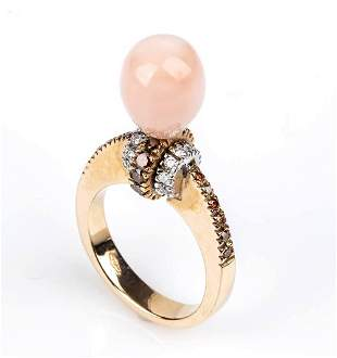 Gold, pink coral, citrine quartz and diamonds ring