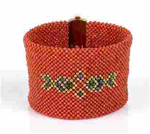 Woven band blue sapphires, emeralds and Mediterranean