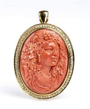 Gold, Cerasuolo coral and diamonds brooch-pendant