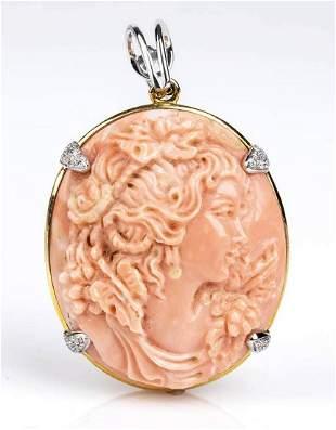 Gold, Cerasuolo coral and diamonds pendant