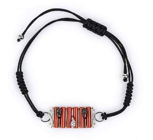 Gold, Mediterranean coral and diamonds bracelet