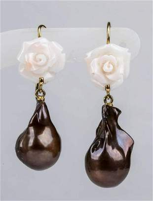 Gold, coral and saltwater pearl drop earrings