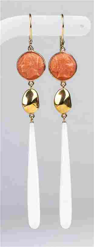 Gold, Cerasuolo coral and white onyx drop earrings