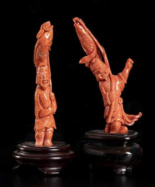 Two Cerasuolo coral carvings