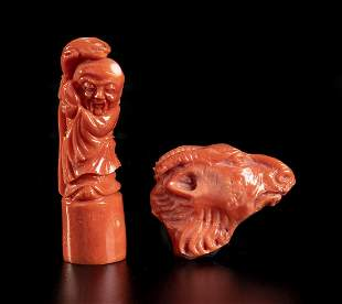 Two Cerasuolo coral carving