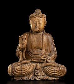 A WOOD SEATED BUDDHA China (?), 20th century