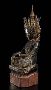 A LACQUERED AND GILT WOOD SEATED BUDDHA Burma, Shan