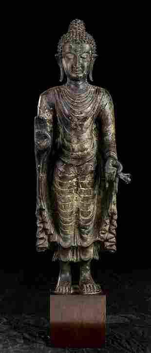 A BRONZE STANDING BUDDHA Thailand, 20th century