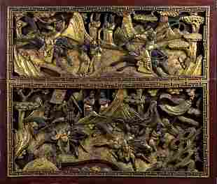 A PAIR OF CARVED, LACQUERED AND GILT WOOD PANEL China,