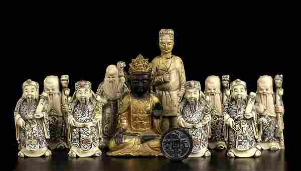 TEN RESIN SCULPTURES AND A COIN China, 20th century