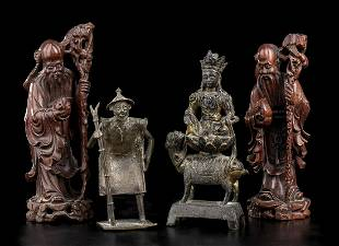 FOUR WOOD AND BRONZE SCULPTURES China