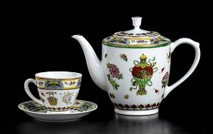 TEN PAINTED PORCELAIN CUPS AND A TEAPOT China, second