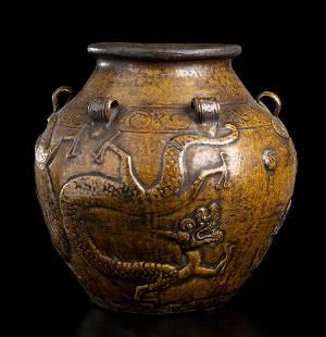 A GLAZED MARTABAN JAR China, probably Ming dynasty