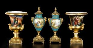 CAPODIMONTE / SÈVRES (in style of) Two pairs of