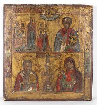 Icon of the Crucifixion - folk handicraft, 19th
