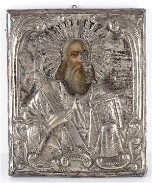 Icon with silver oklad depicting St. Andrew - North