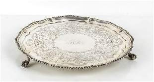 English sterling silver salver - London 1765, mark of