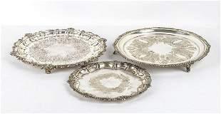 Three English silver plated salver - 20th Century