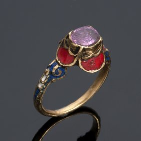 18k Yellow Gold & Ruby Ring, 19th Century Italy