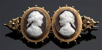15K Victorian yellow gold agate cameo brooch depicting