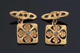 Art nouveau 18K yellow gold and diamond cufflinks with