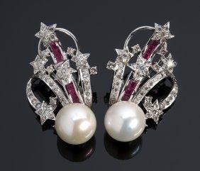 18k Gold, Pearl Ruby Diamond Earrings