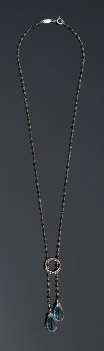 Black Diamonds, Brilliants And Topaz Necklace