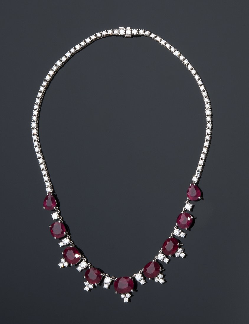 PETOCHI, ROME- 18K WITHE GOLD, RUBIES AND DIAMONDS