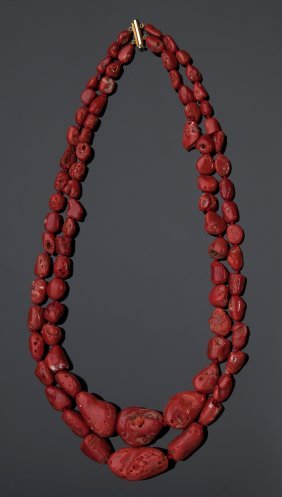 18k Gold And Coral Necklace