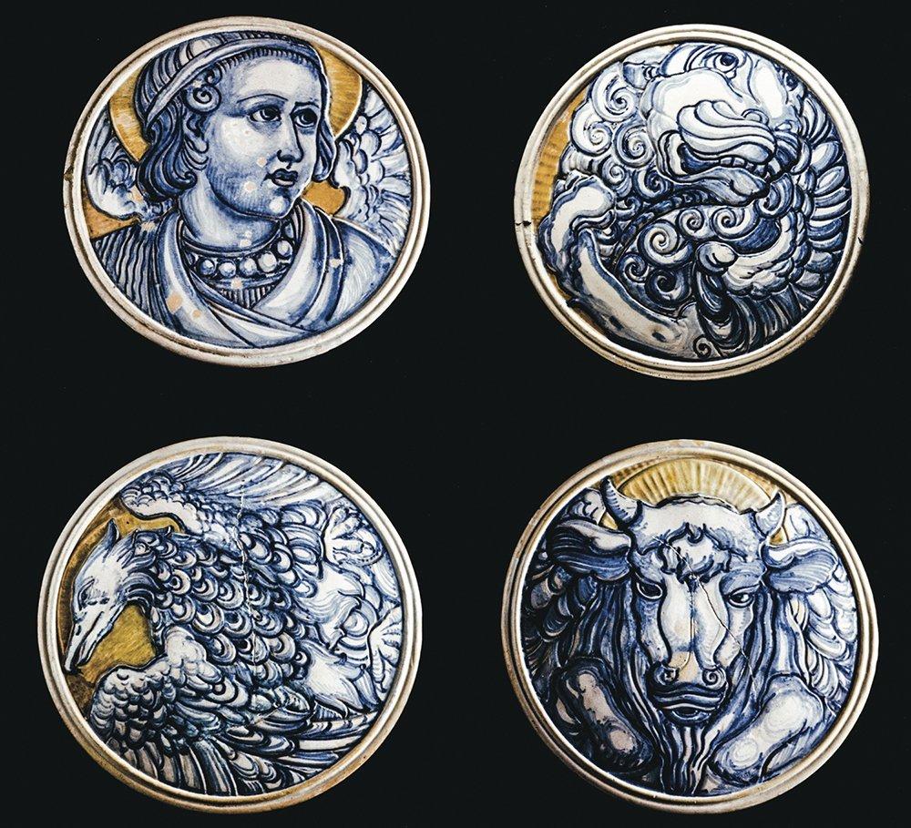 GALILEO CHINI - Four plaque with Evangelist simbols,