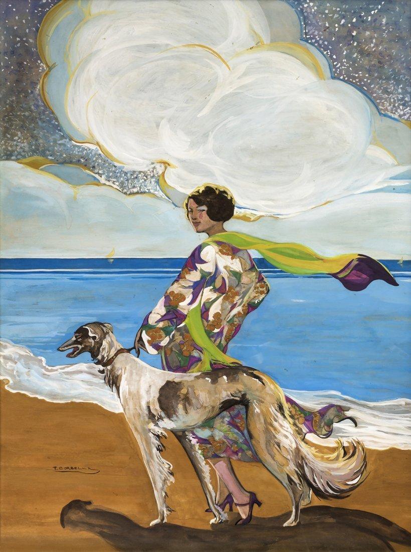 TITO CORBELLA - Woman with greyhound, 30's