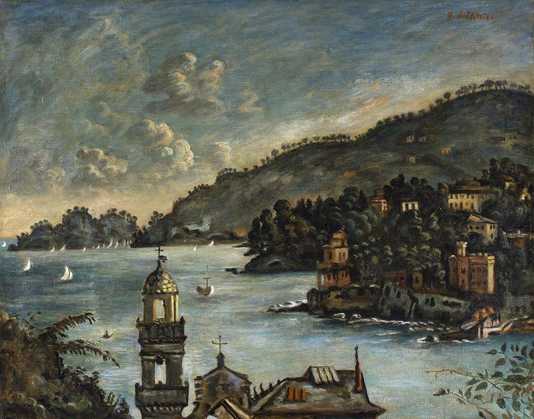 GIORGIO DE CHIRICO - Rapallo View, second half 40's