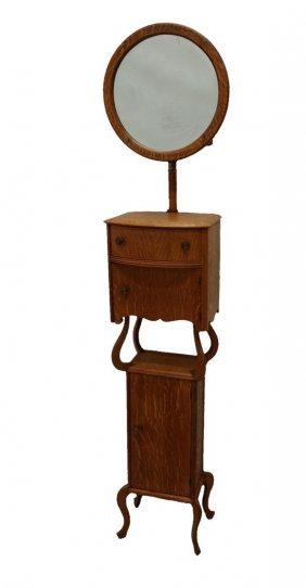 #175- Rare Model Tiger Oak Shaving Stand W/ Adjustable