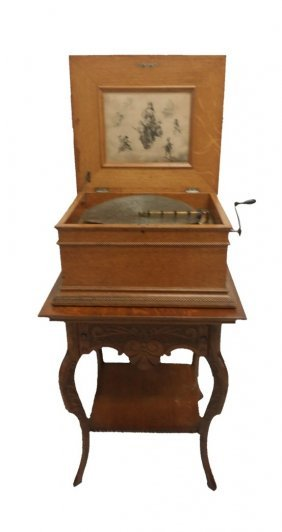 "#672- Tiger Oak Regina 15 ½"" Disc Player W/ Stand"