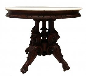 #121- Phenomenal Thomas Brooks M/t Table W/ Lion Heads