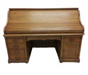 "#116- Gorgeous Tiger Oak 72"" Bankers Roll Top Desk 52"""