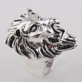 Lion Head shaped carving silver ring. Size- 10