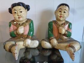 Large Vintage Asian Terra-cotta Hand Painted Sculpture
