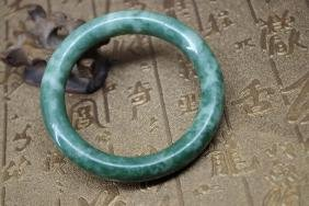 Old Chinese natural green jade bracelet - 59 mm