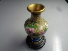 Chinese Vintage Cloisonn Covered Vase w/ Stand