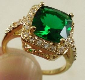 Yellow Gold Plated CZ Emerald Green Color Gemstone Ring