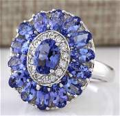 Blue Sapphire CZ Gemstone 925 Silver:Size 8